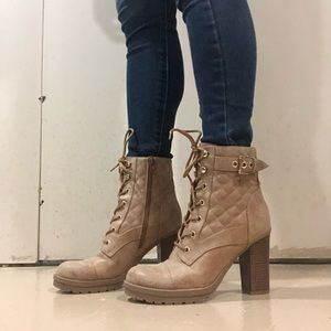 Tan Guess heeled boots